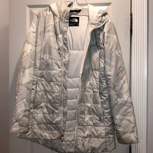 North Face white camo jacket